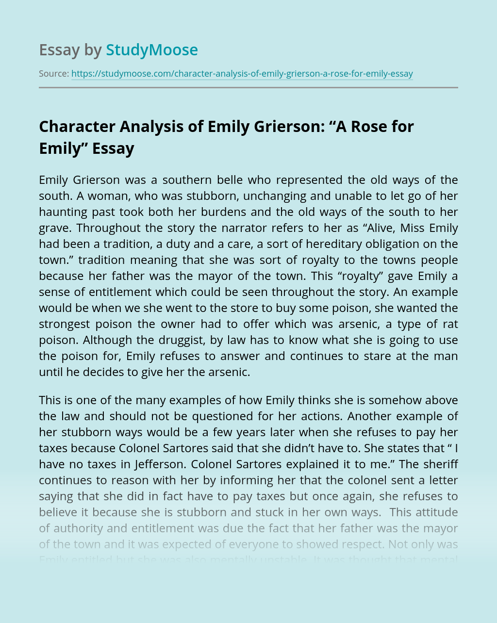 """Character Analysis of Emily Grierson: """"A Rose for Emily"""""""