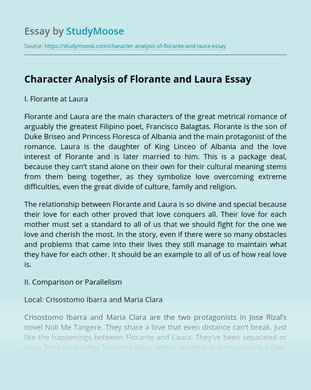 Character Analysis of Florante and Laura