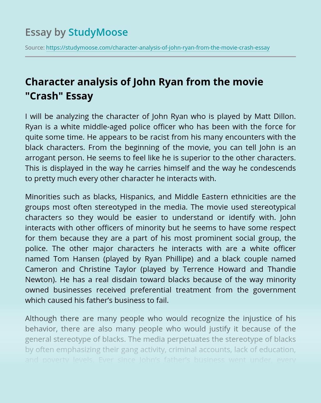 """Character analysis of John Ryan from the movie """"Crash"""""""