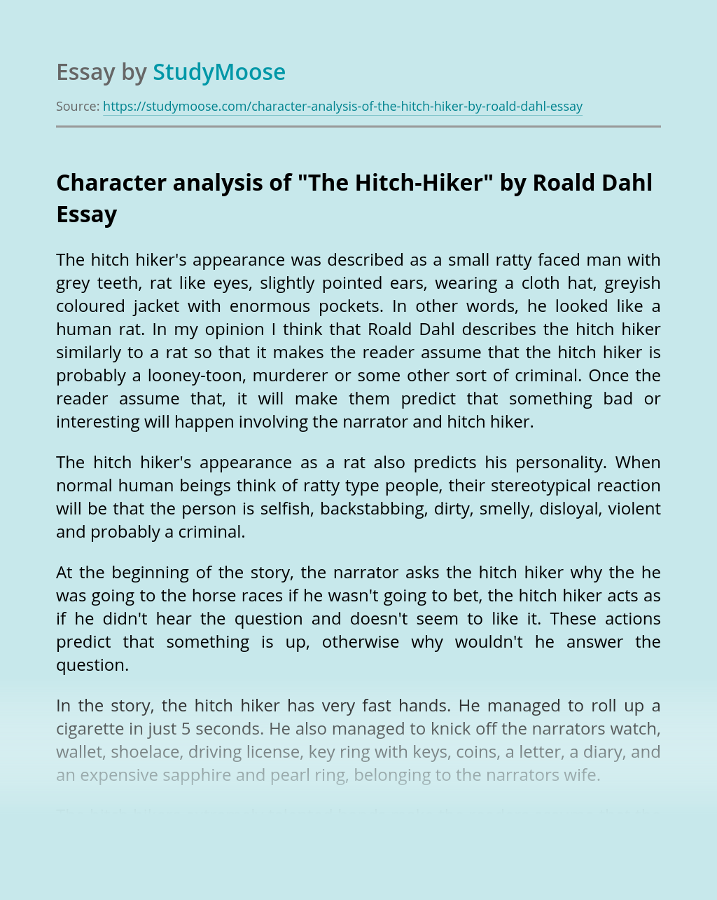 "Character analysis of ""The Hitch-Hiker"" by Roald Dahl"