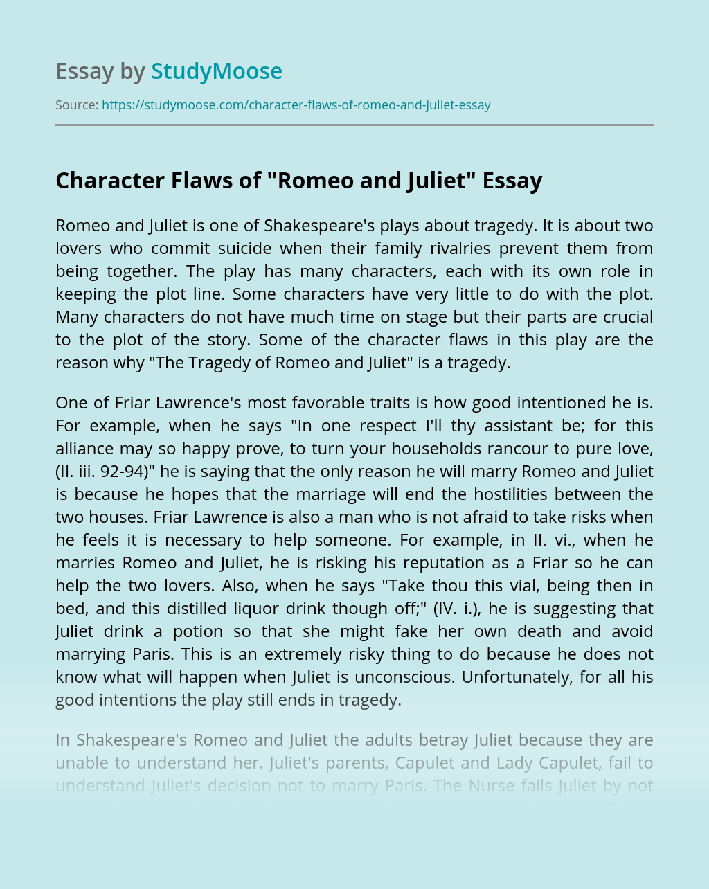 """Character Flaws of """"Romeo and Juliet"""""""