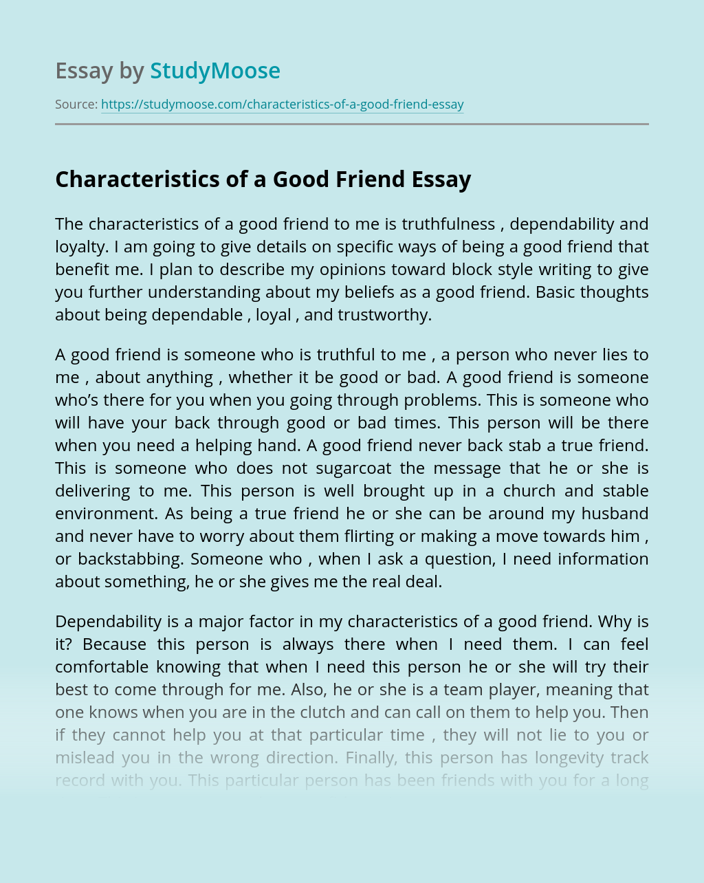 Characteristics Of Good Essay Writing