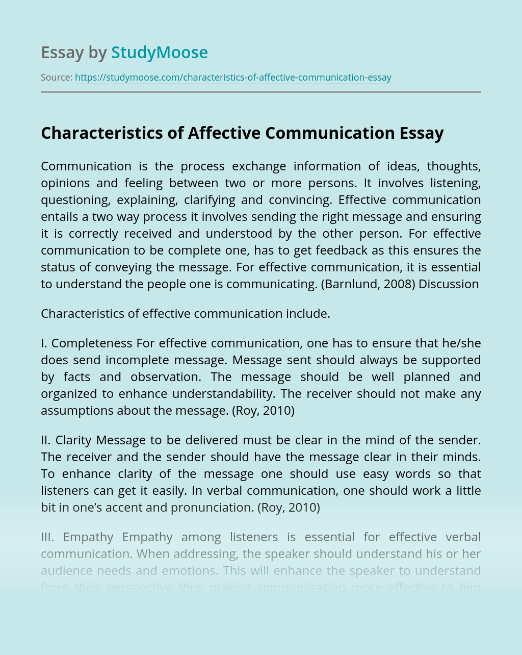 Characteristics of Affective Communication