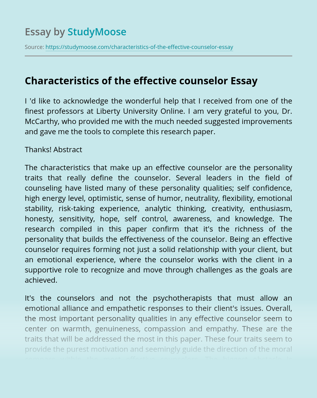 Characteristics of the effective counselor