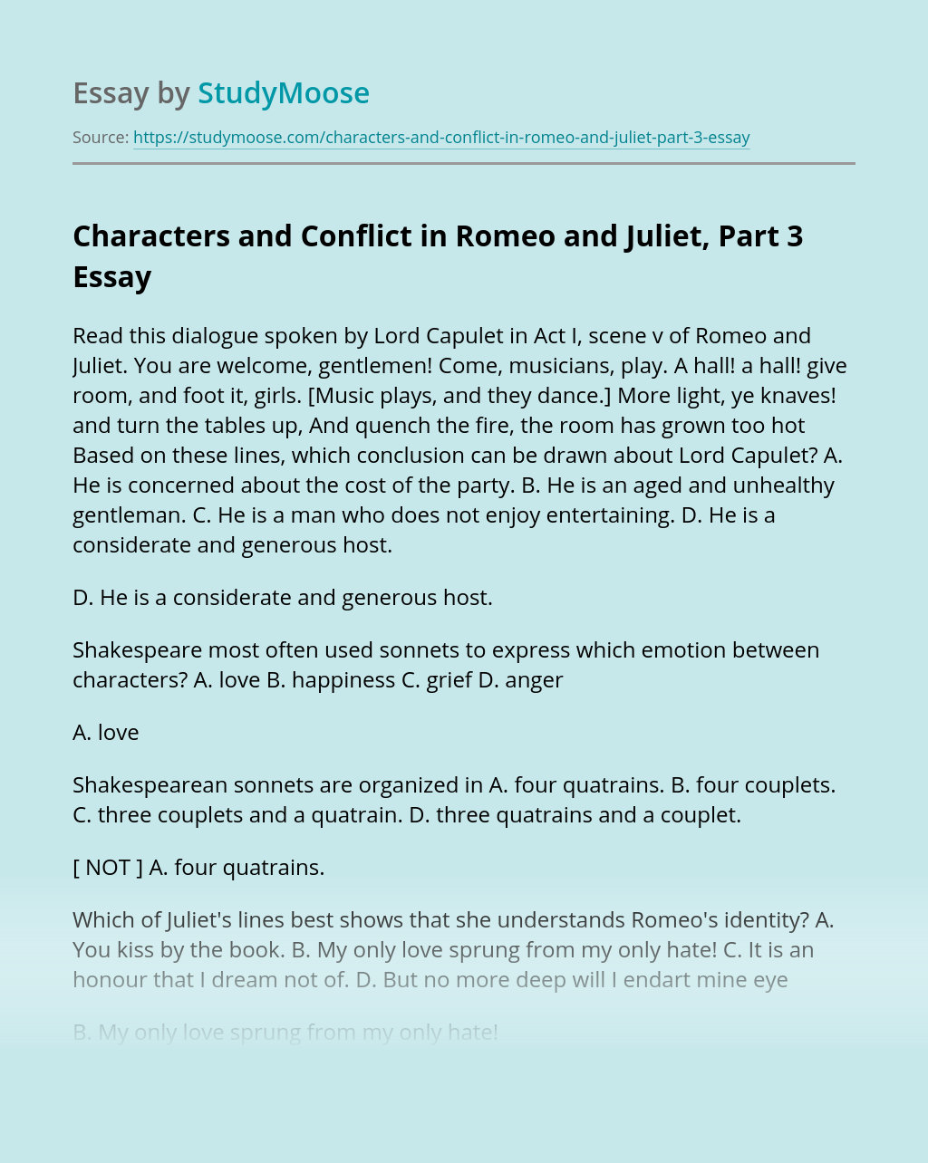 Characters and Conflict in Romeo and Juliet, Part 3