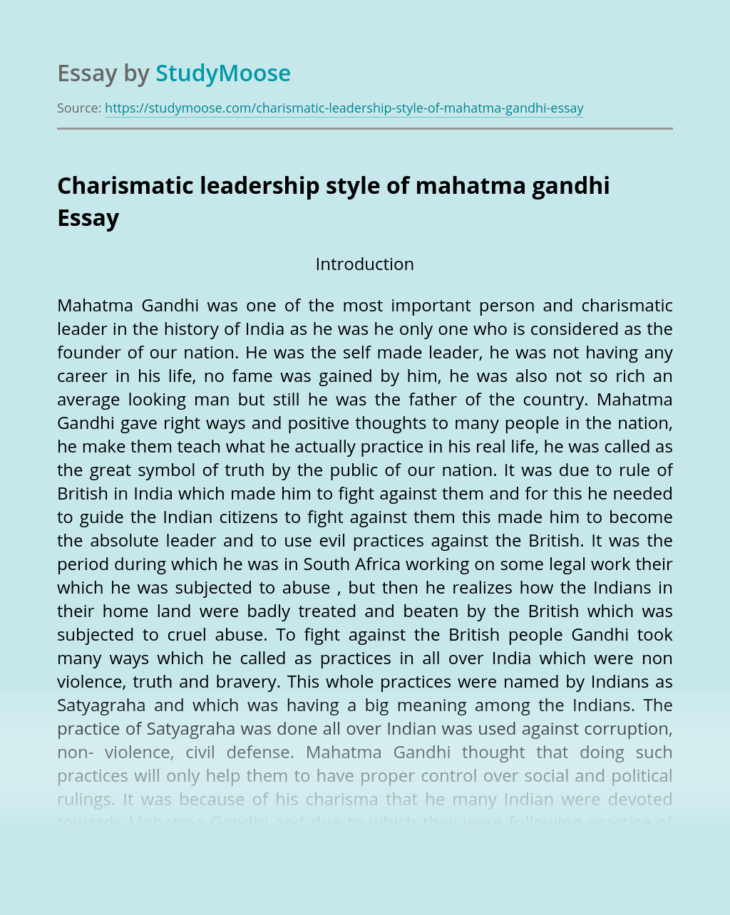 Charismatic leadership style of mahatma gandhi