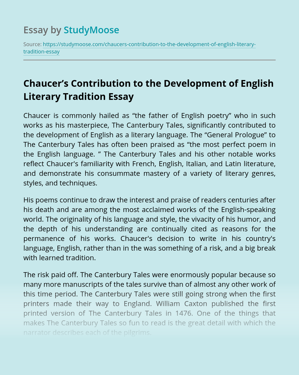 Chaucer's Contribution to the Development of English Literary Tradition