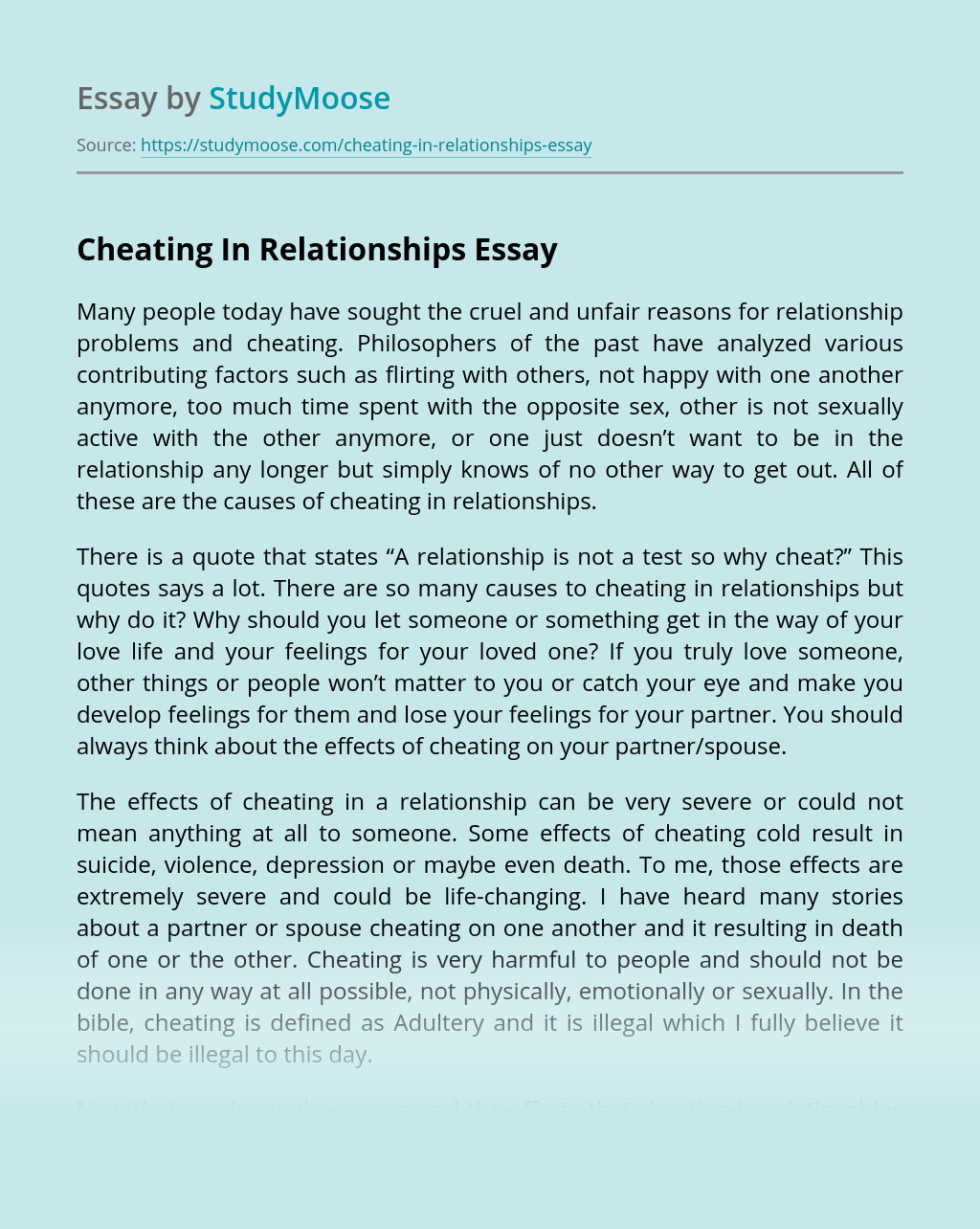 Cheating In Relationships