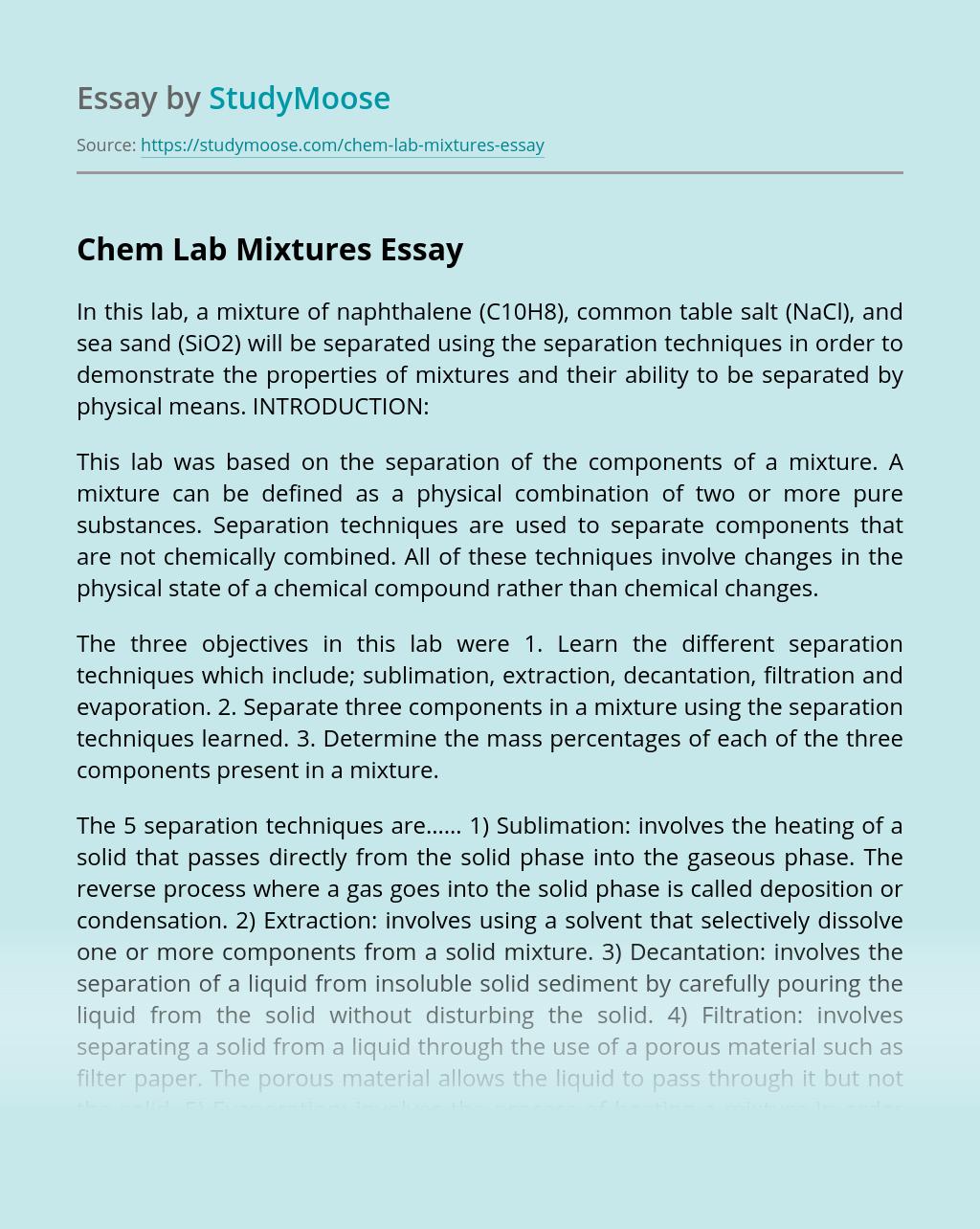 Chem Lab Mixtures
