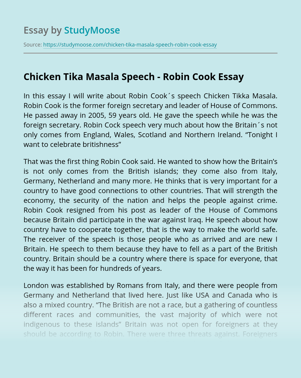 Chicken Tika Masala Speech - Robin Cook