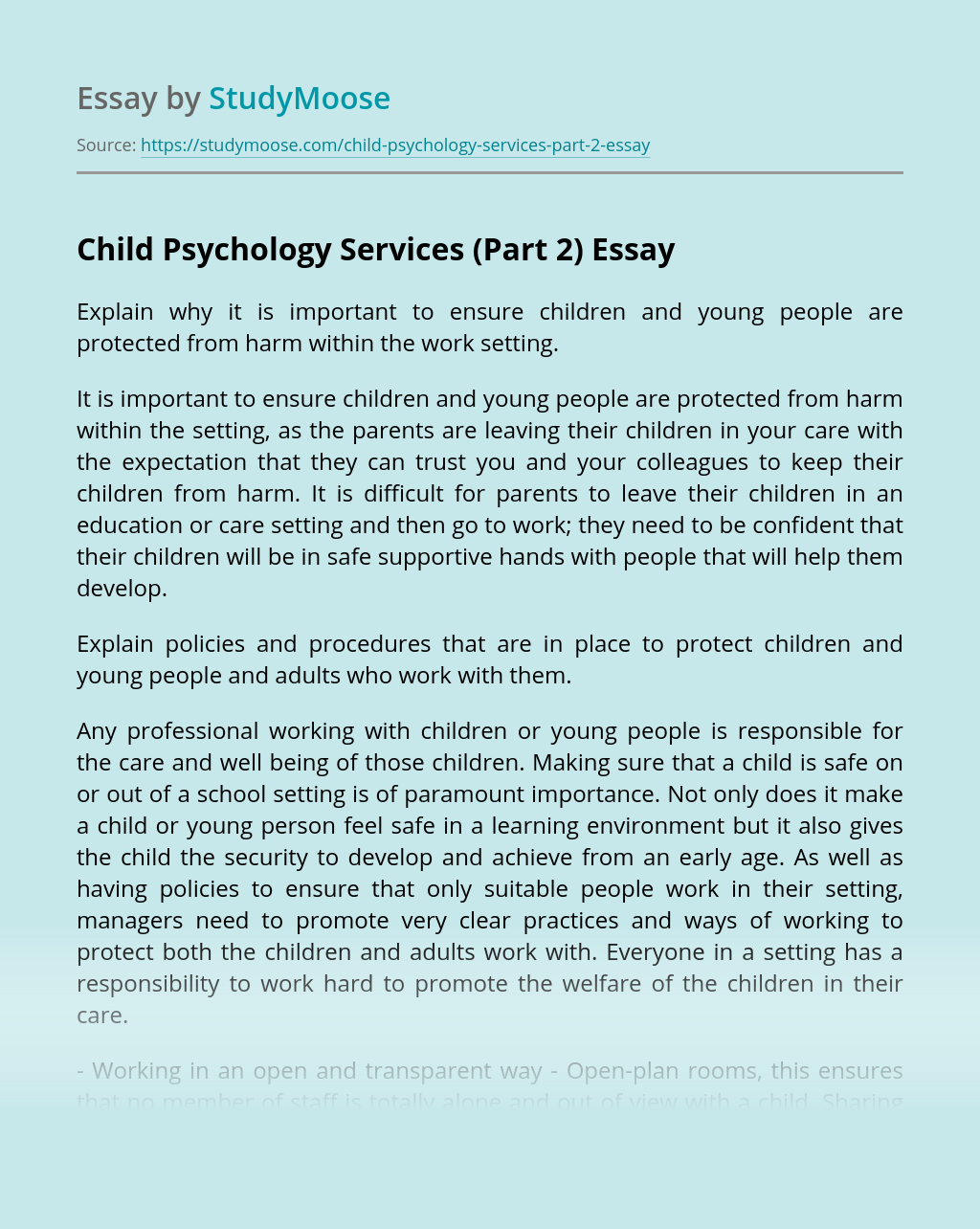 Child Psychology Services (Part 2)