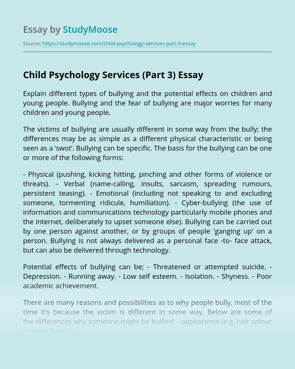 Child Psychology Services (Part 3)