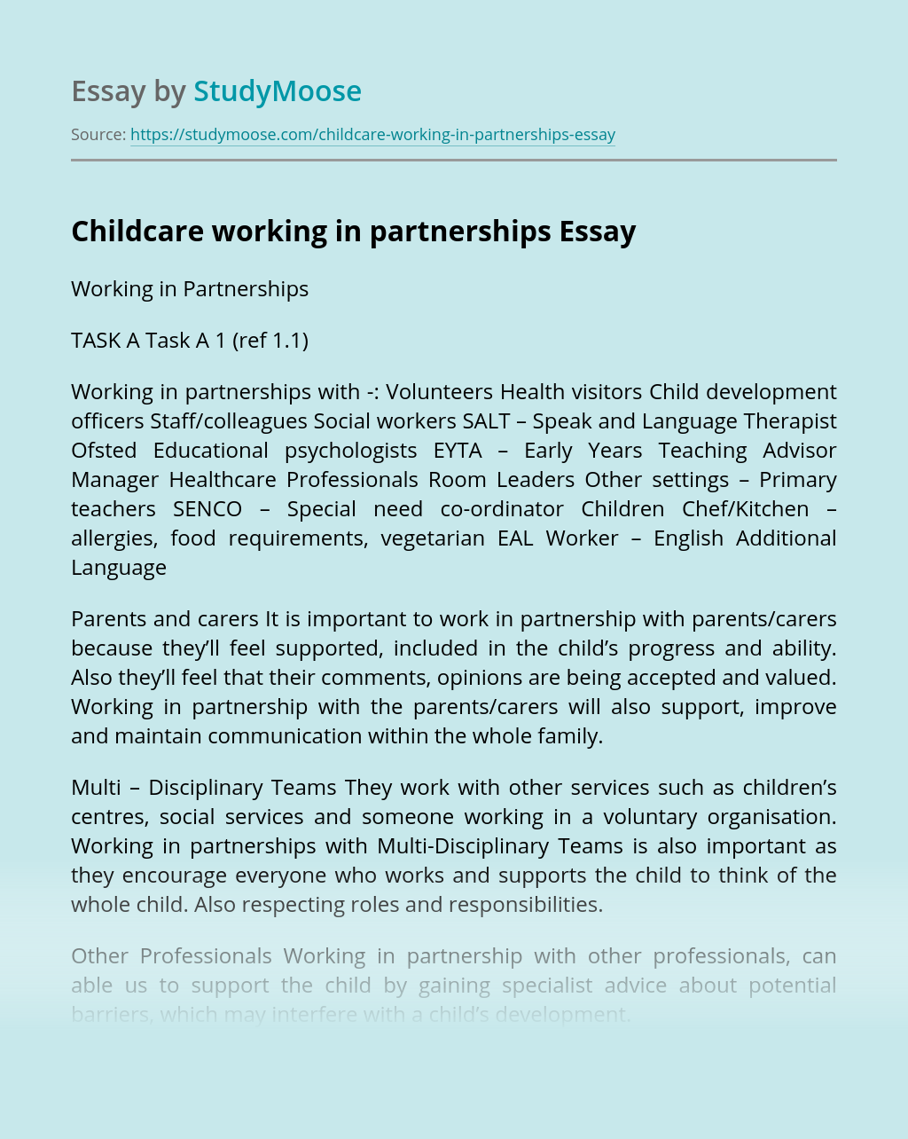 Childcare working in partnerships