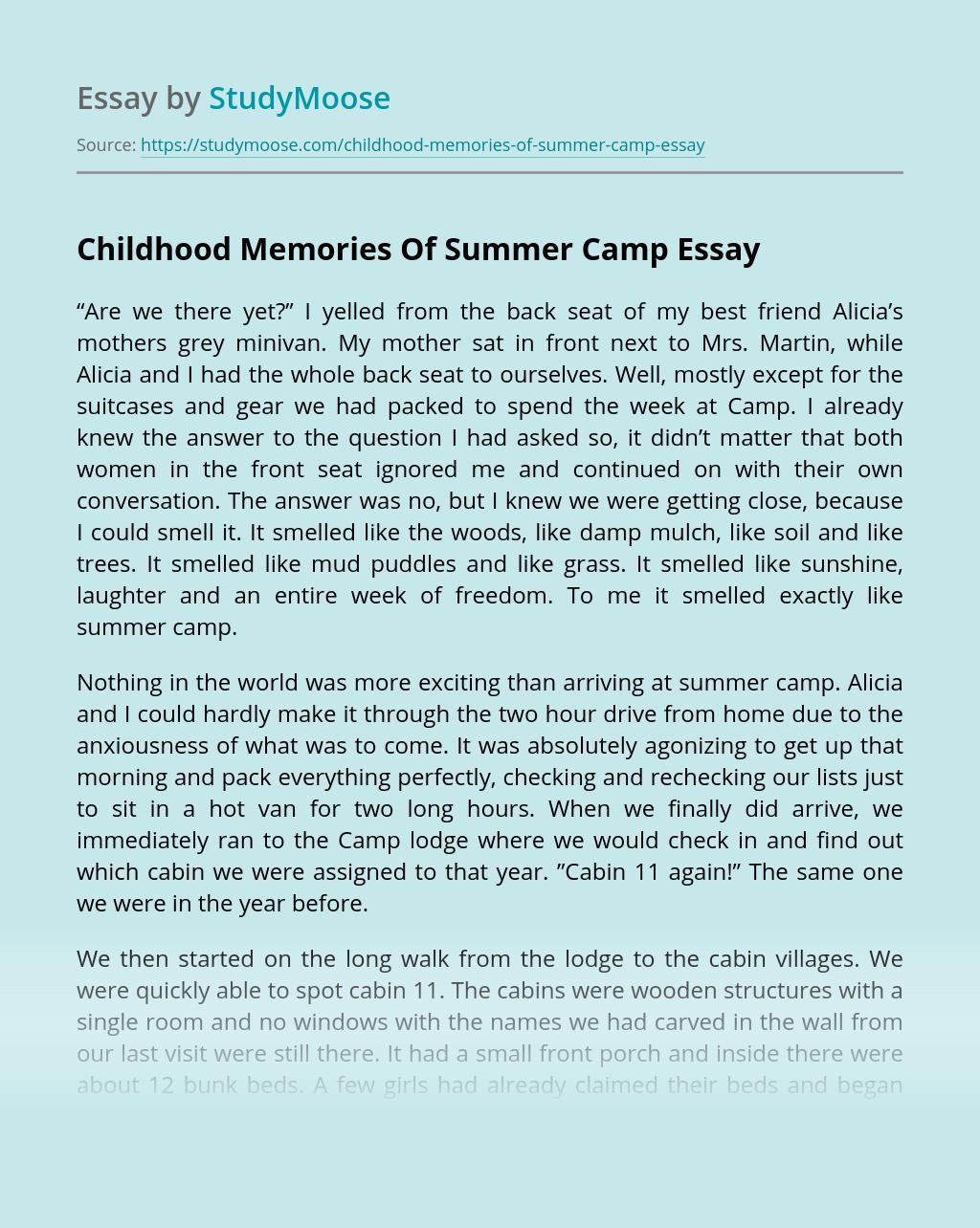 Childhood Memories Of Summer Camp