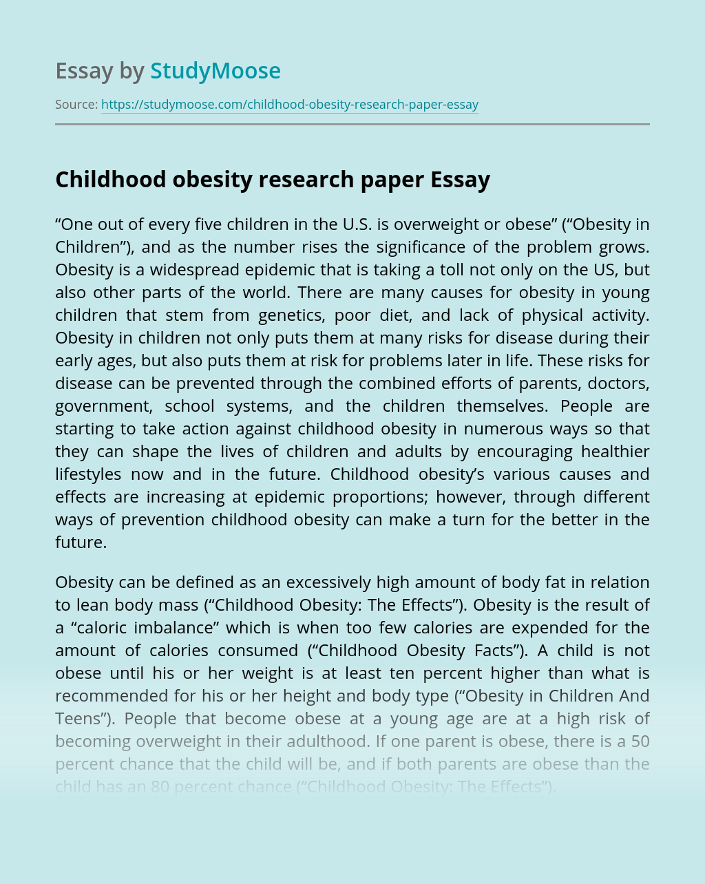 Childhood obesity research paper