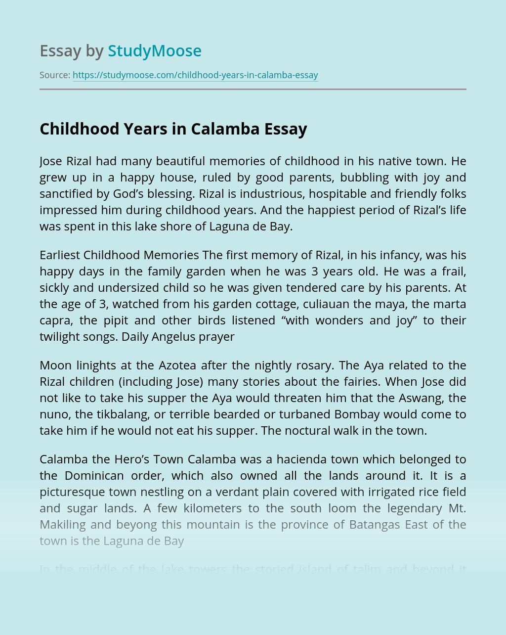 Childhood Years in Calamba