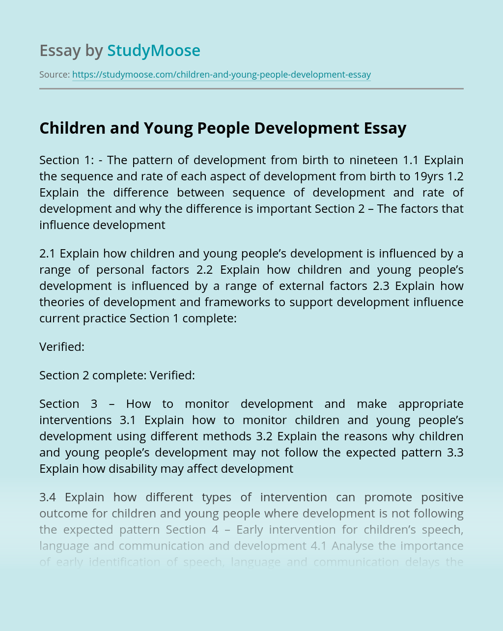Children and Young People Development