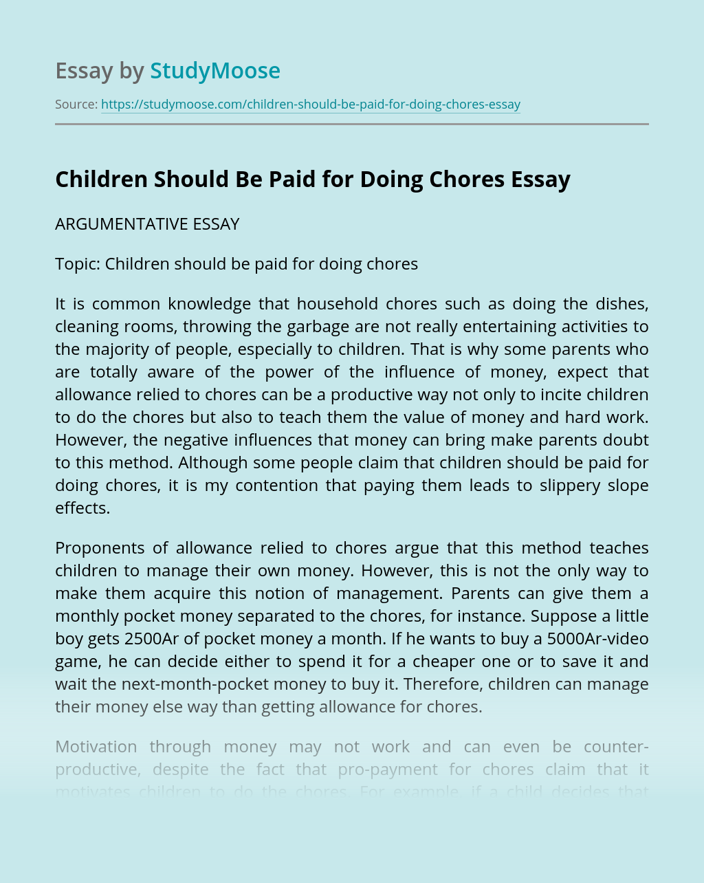 Children Should Be Paid for Doing Chores