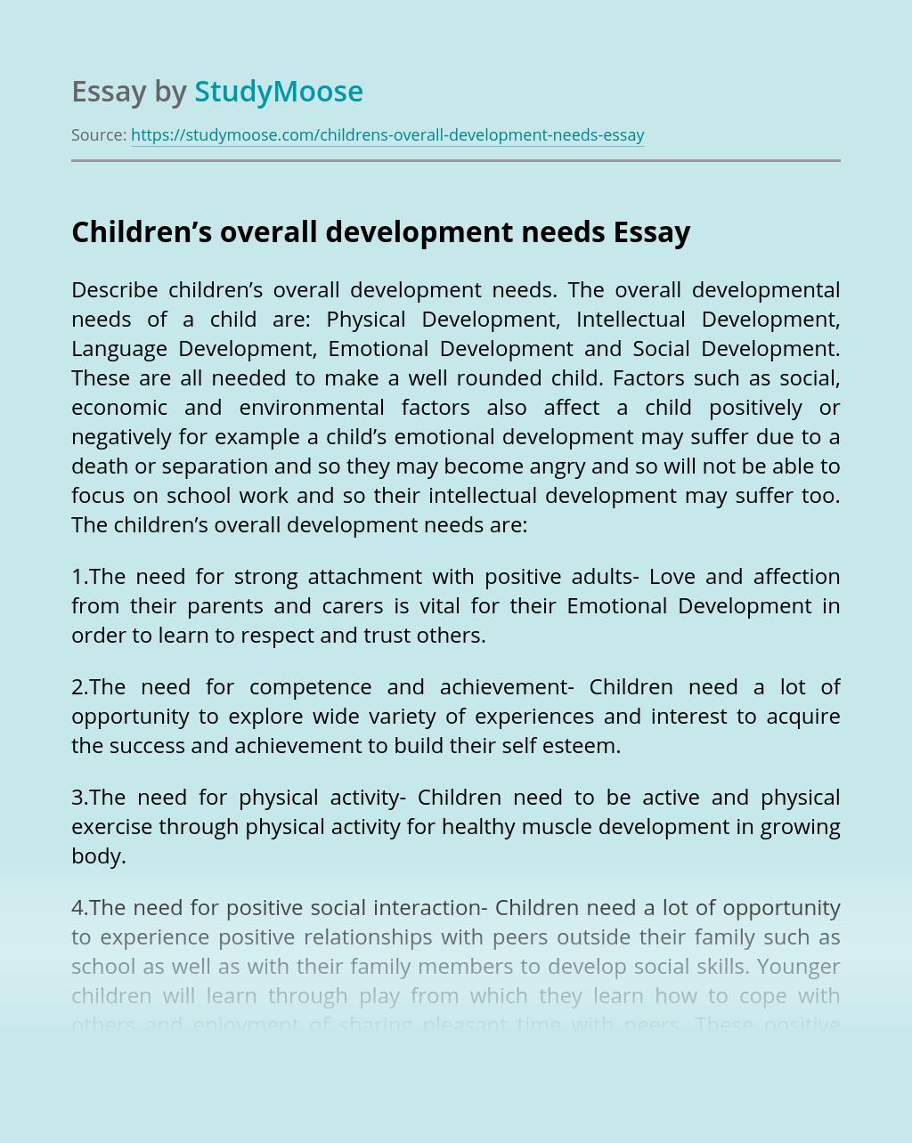 Children's overall development needs