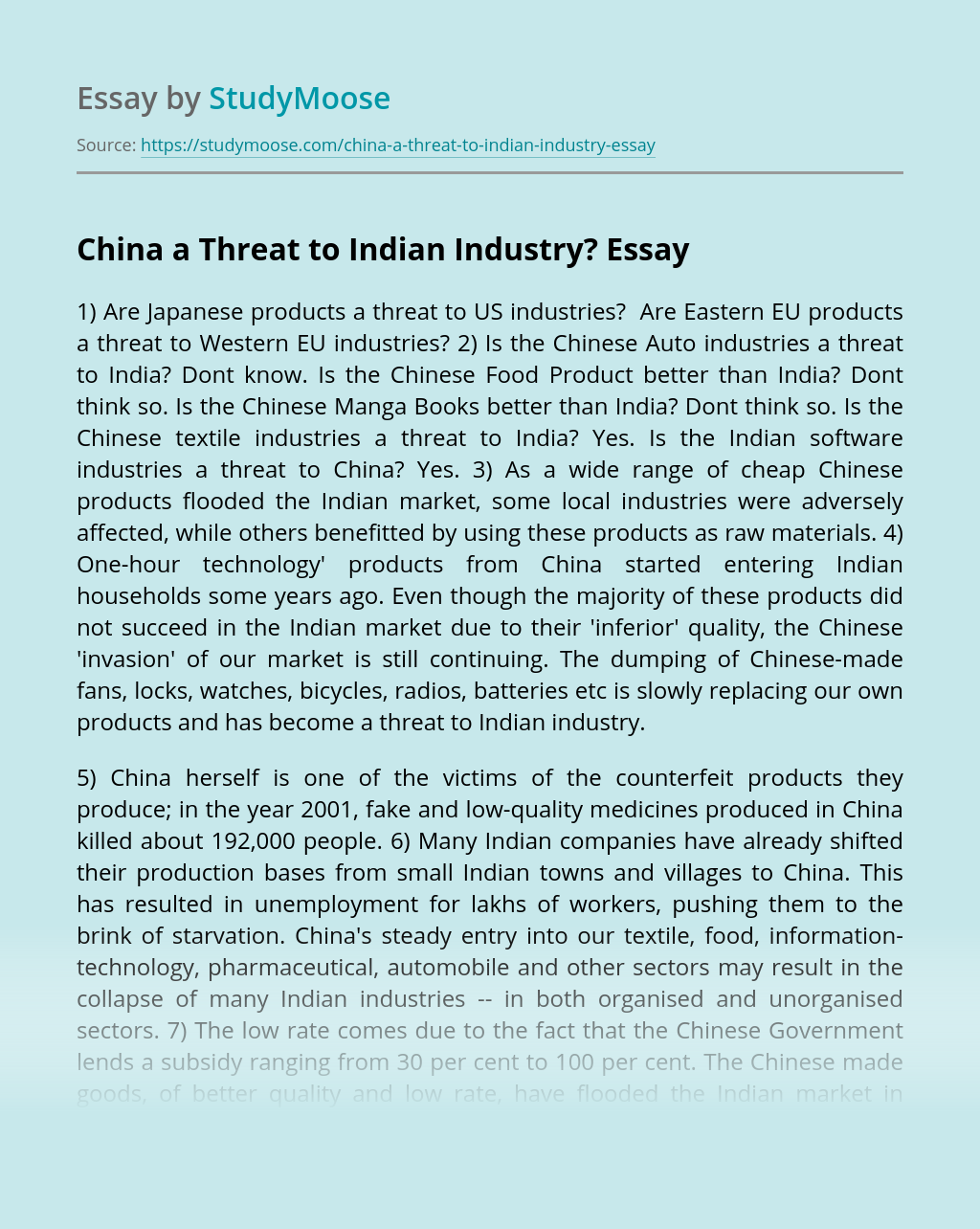 China a Threat to Indian Industry?