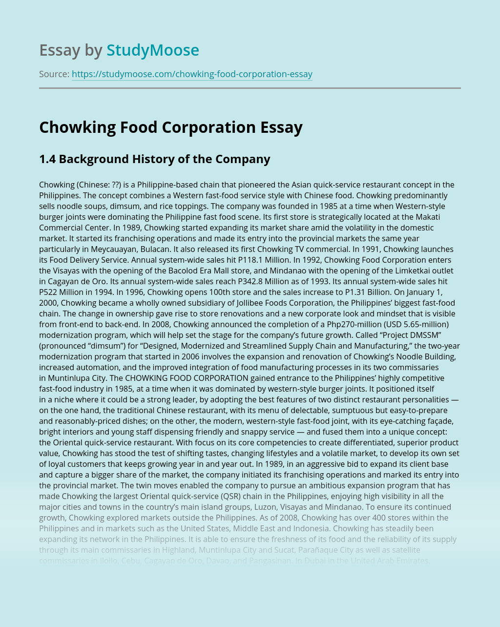 Chowking Food Corporation