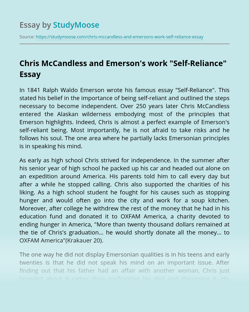 "Chris McCandless and Emerson's work ""Self-Reliance"""