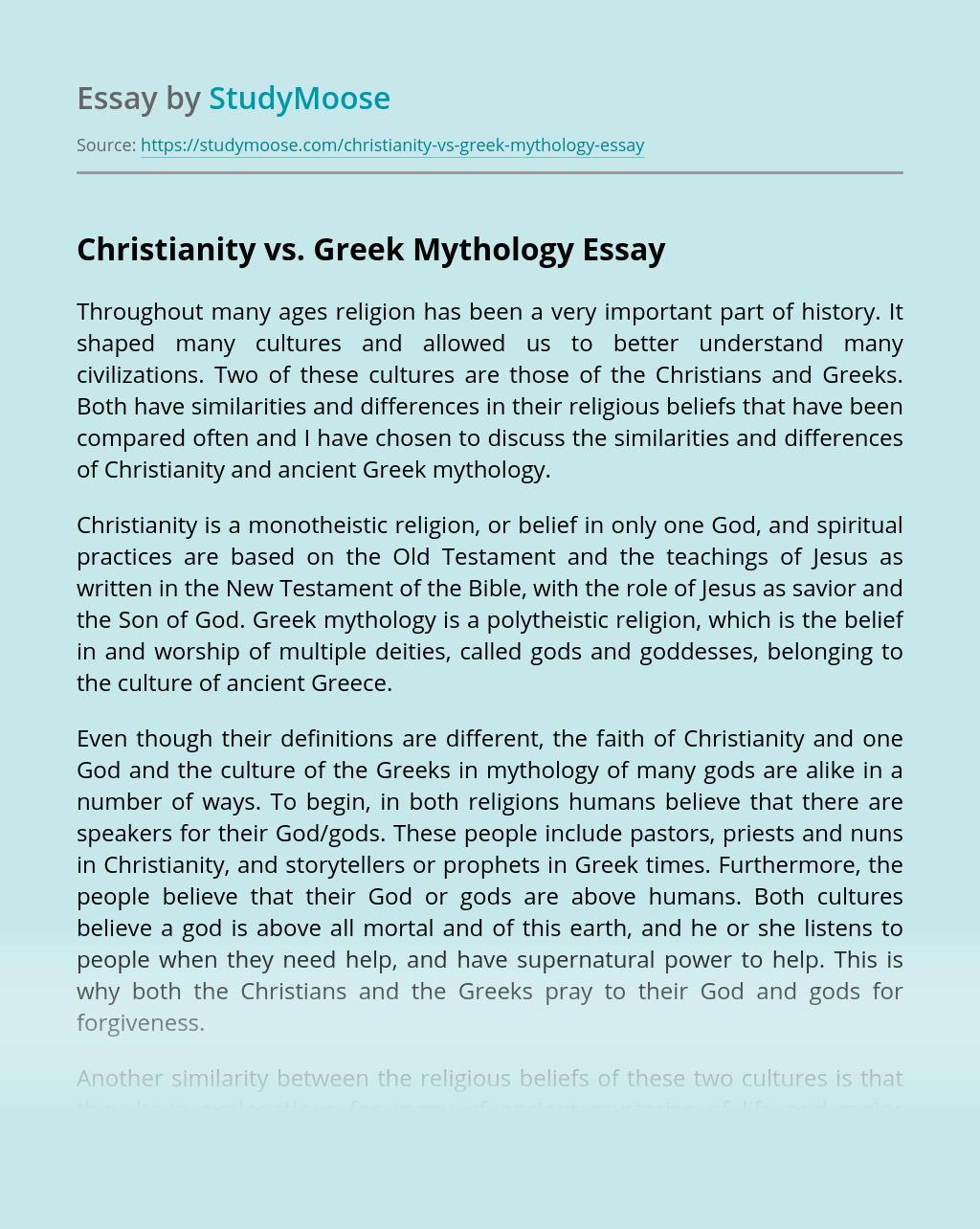 Christianity vs. Greek Mythology