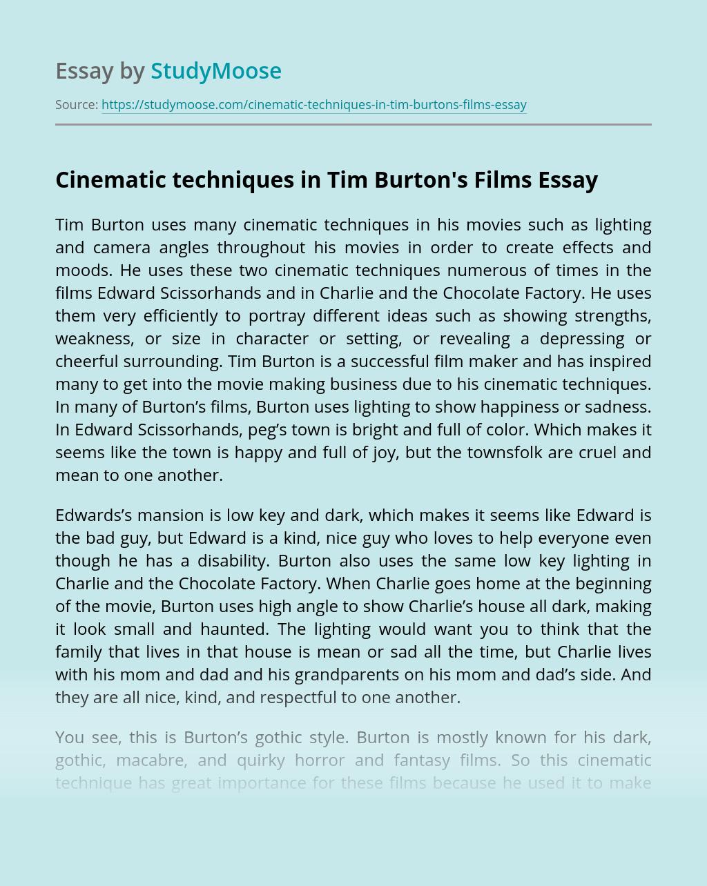 Cinematic techniques in Tim Burton's Films