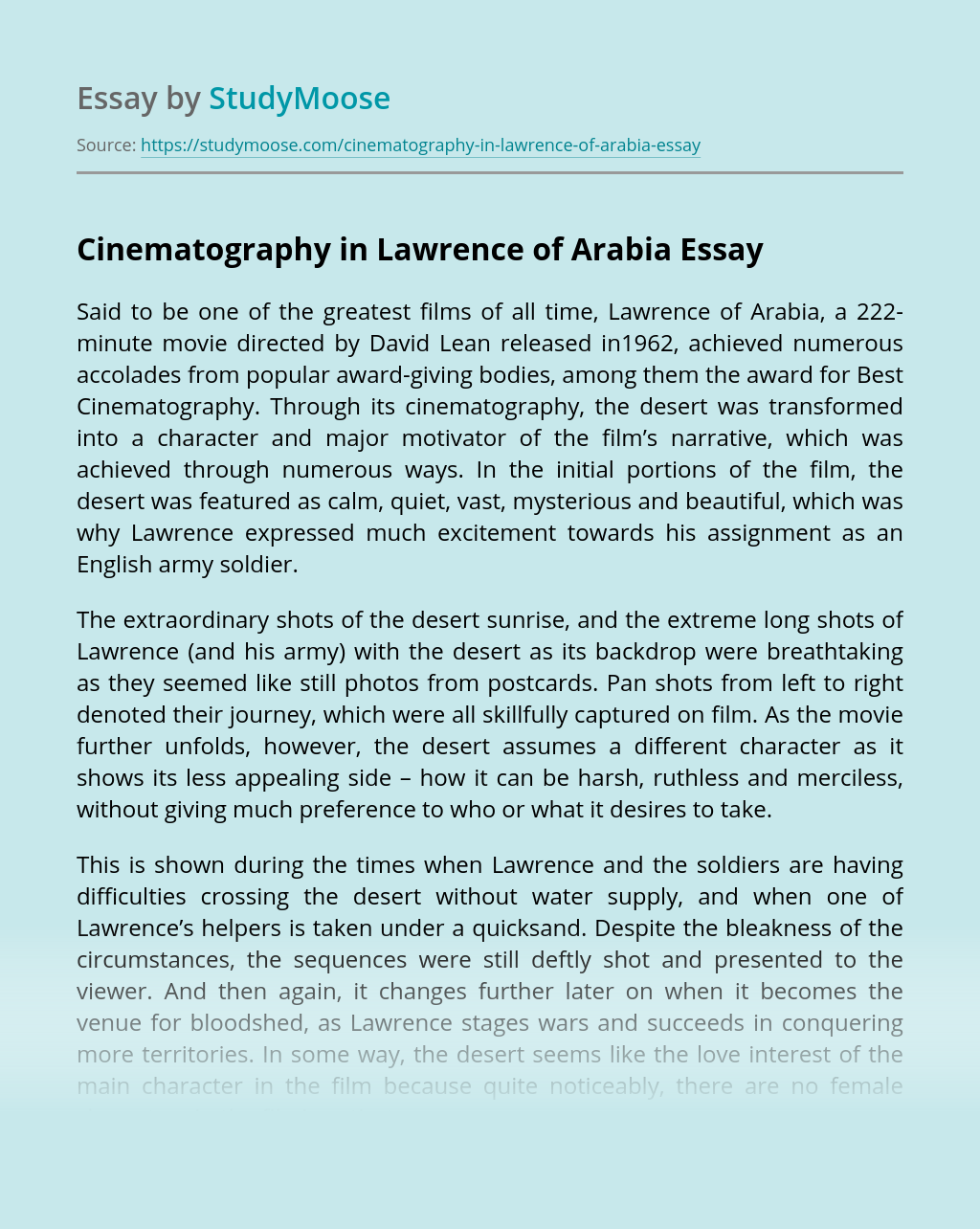 Cinematography in Lawrence of Arabia