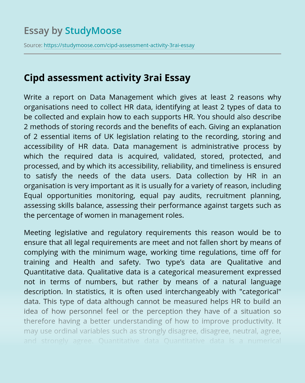 Cipd assessment activity 3rai