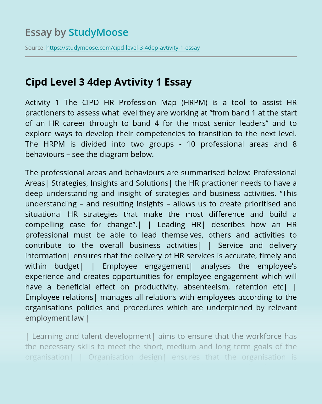 Cipd Level 3 4dep Avtivity 1