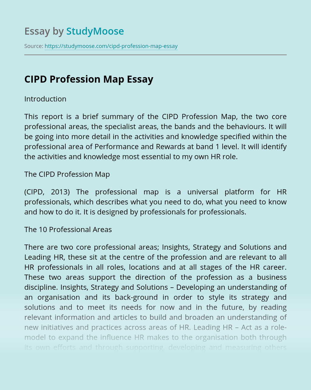 CIPD Profession Map
