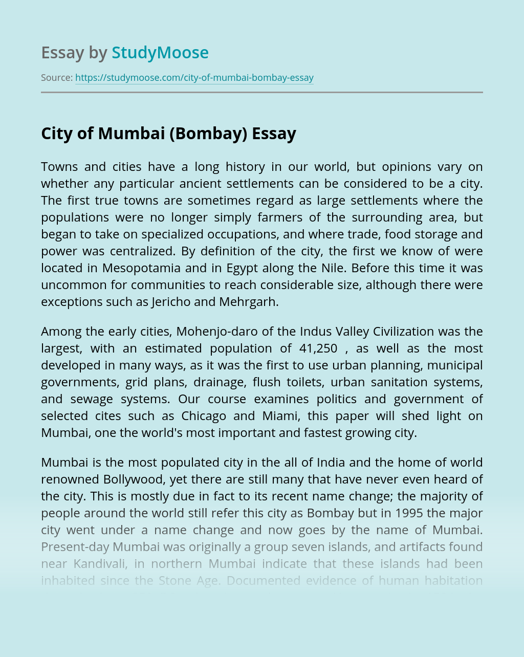 City of Mumbai (Bombay)