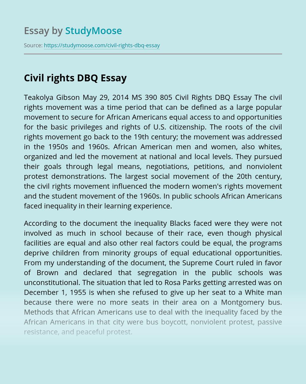 Civil rights DBQ