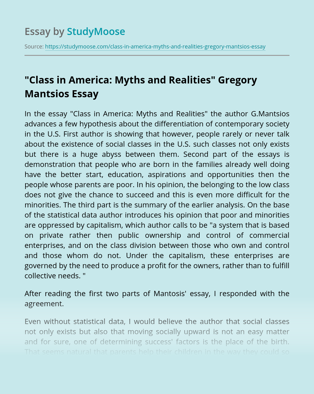 """""""Class in America: Myths and Realities"""" Gregory Mantsios"""