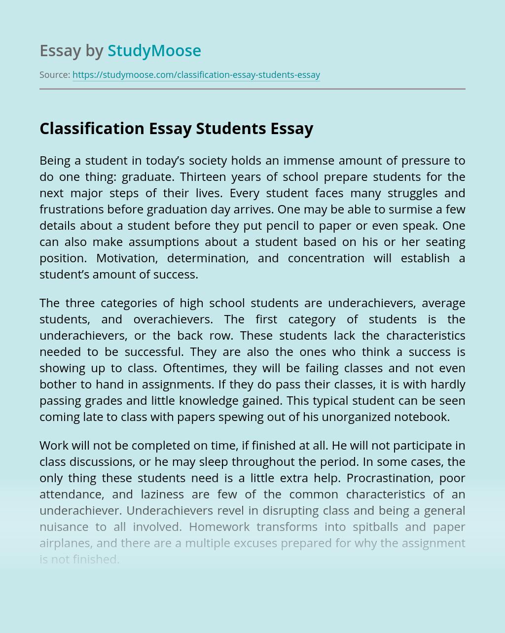 Classification Essay Students
