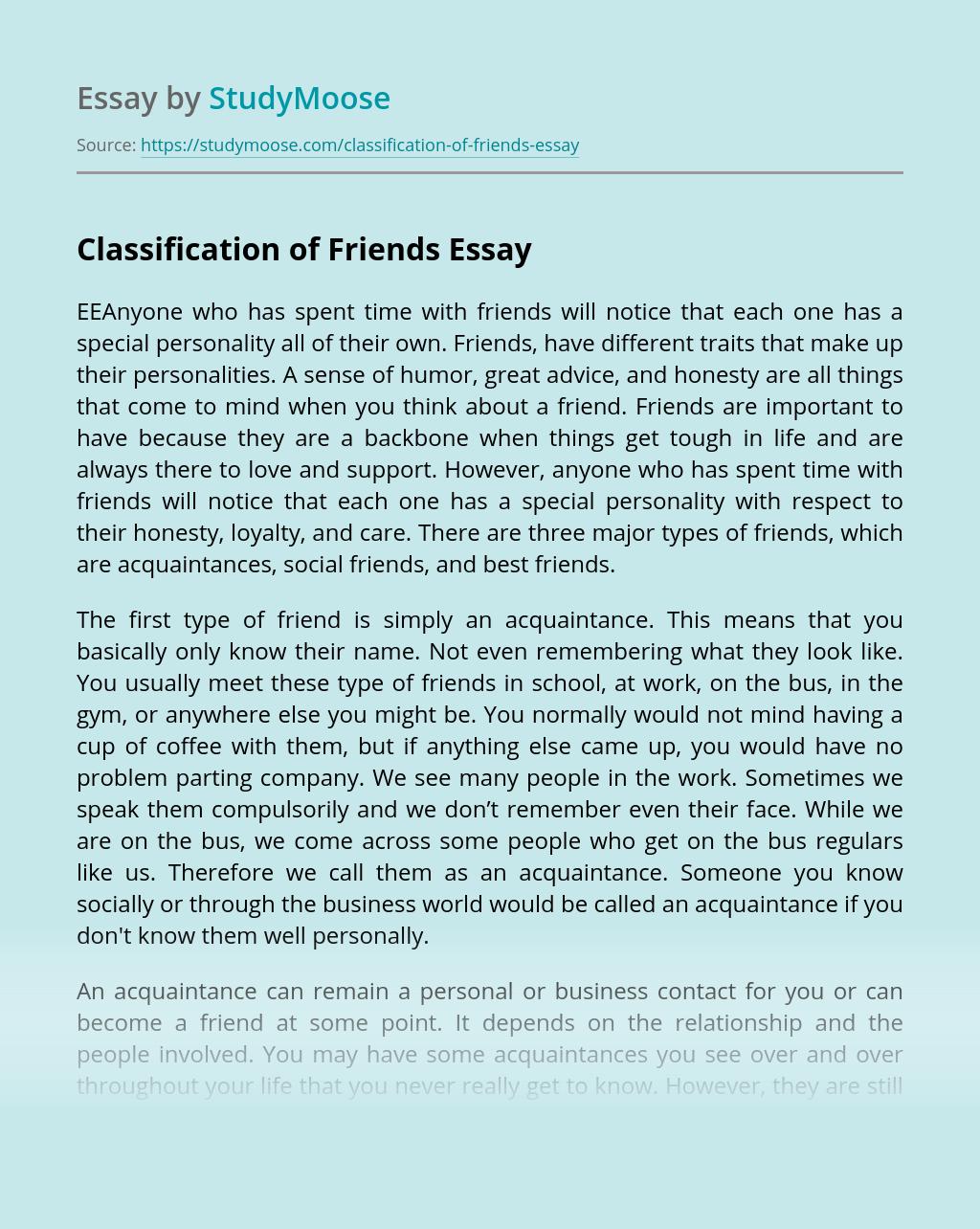 Classification of Friends