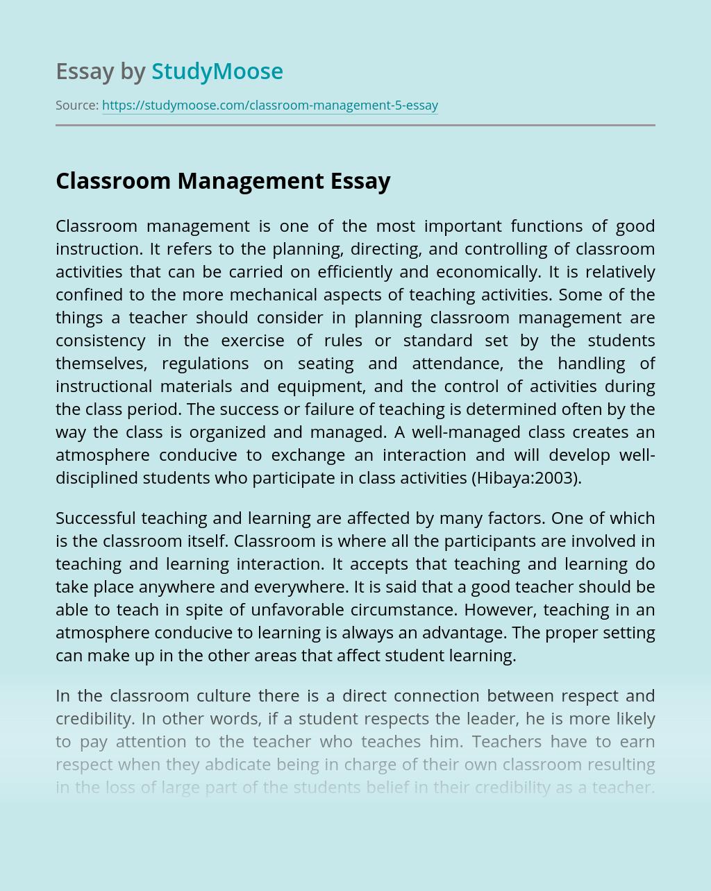 Essay on classroom management