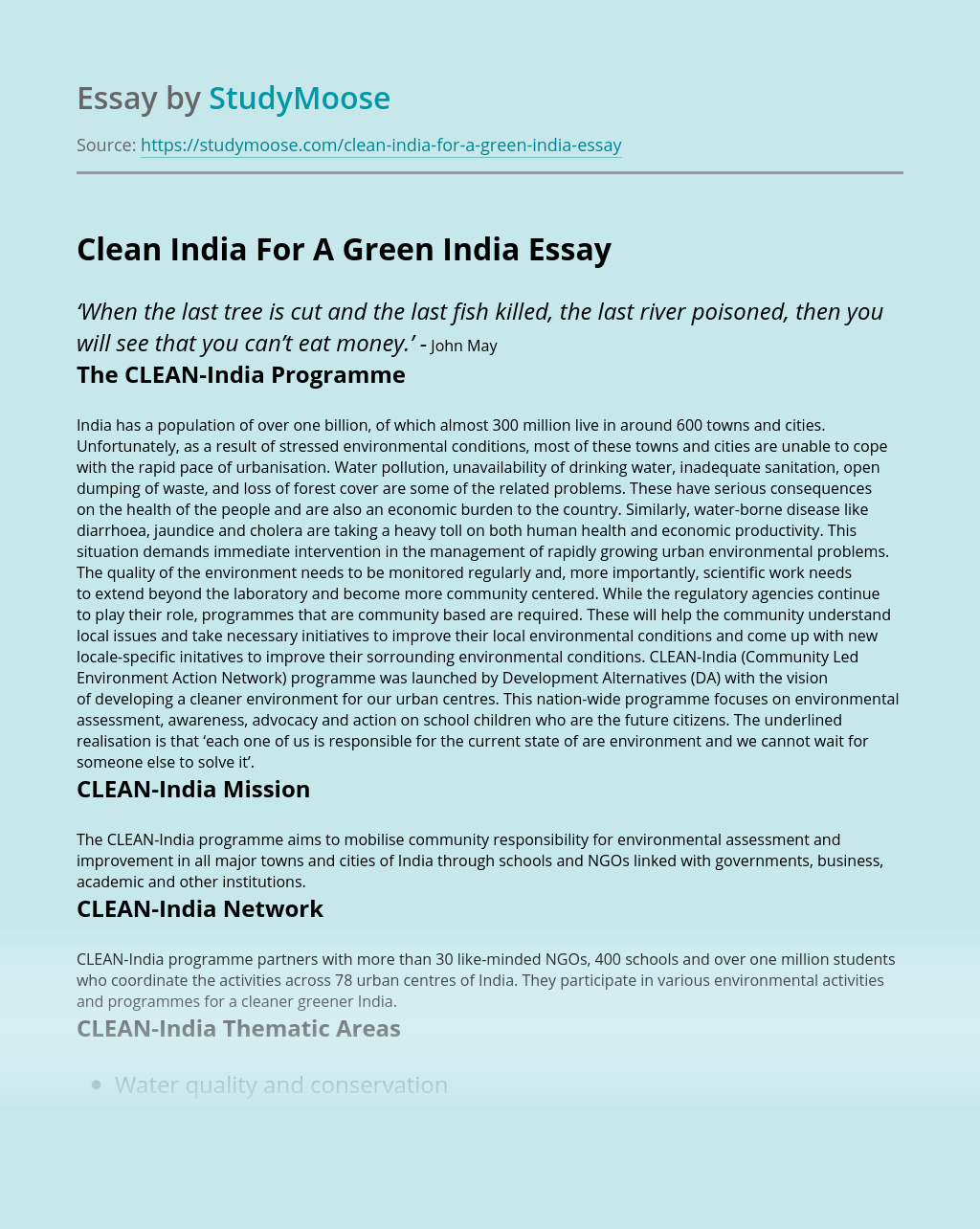 Clean India For A Green India