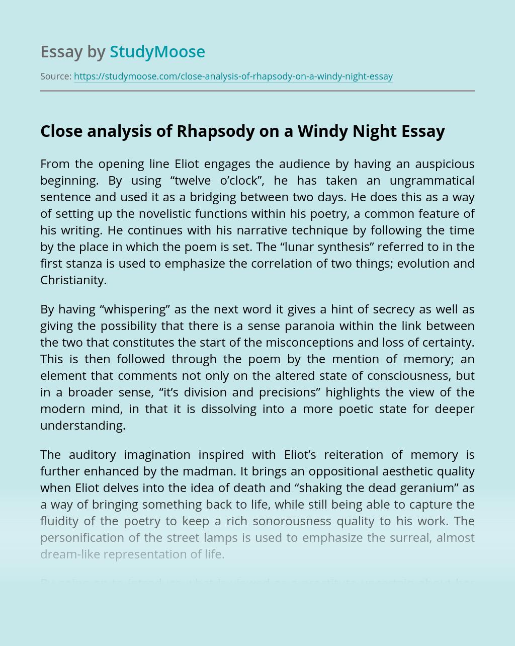 Close analysis of Rhapsody on a Windy Night