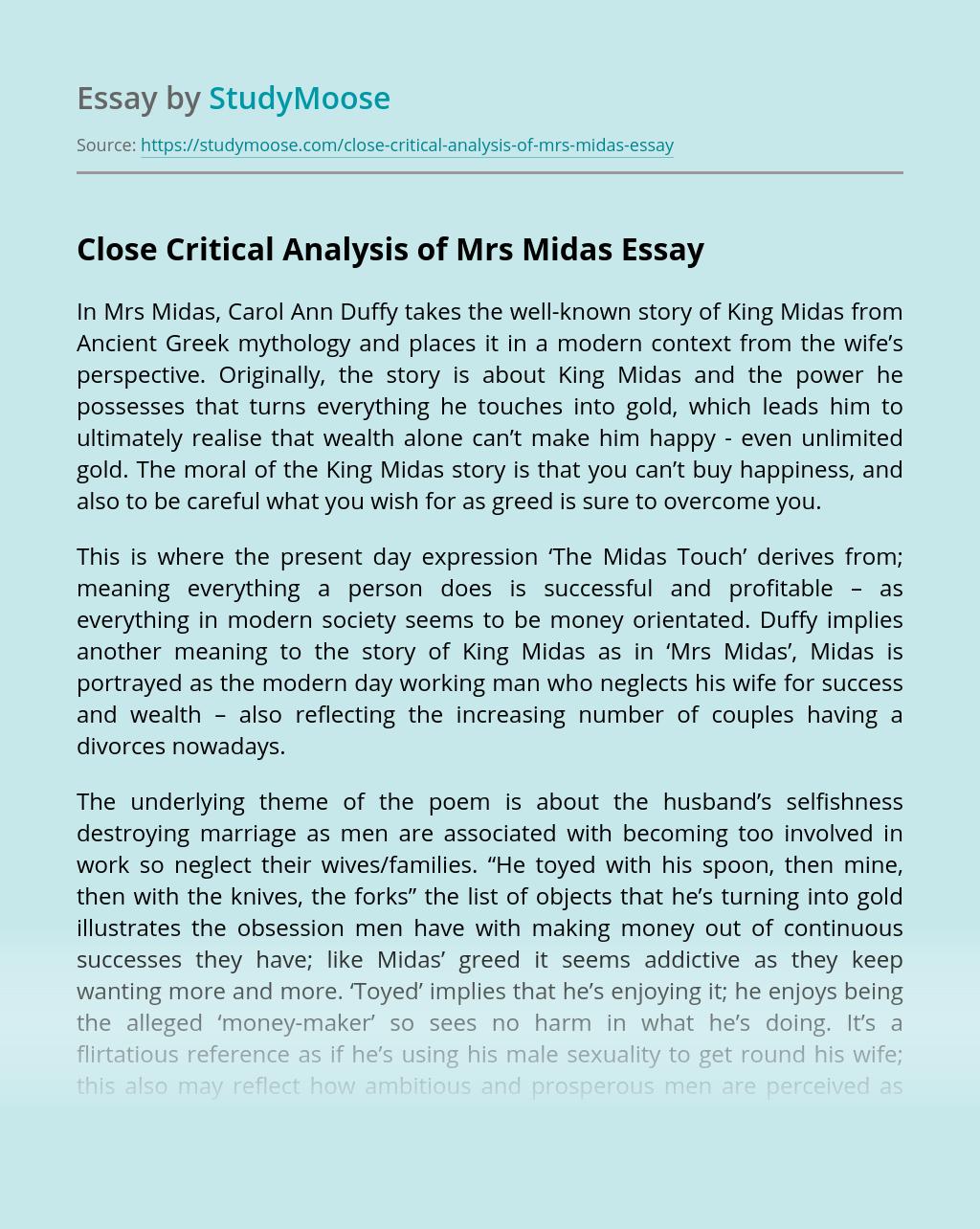 Close Critical Analysis of Mrs Midas