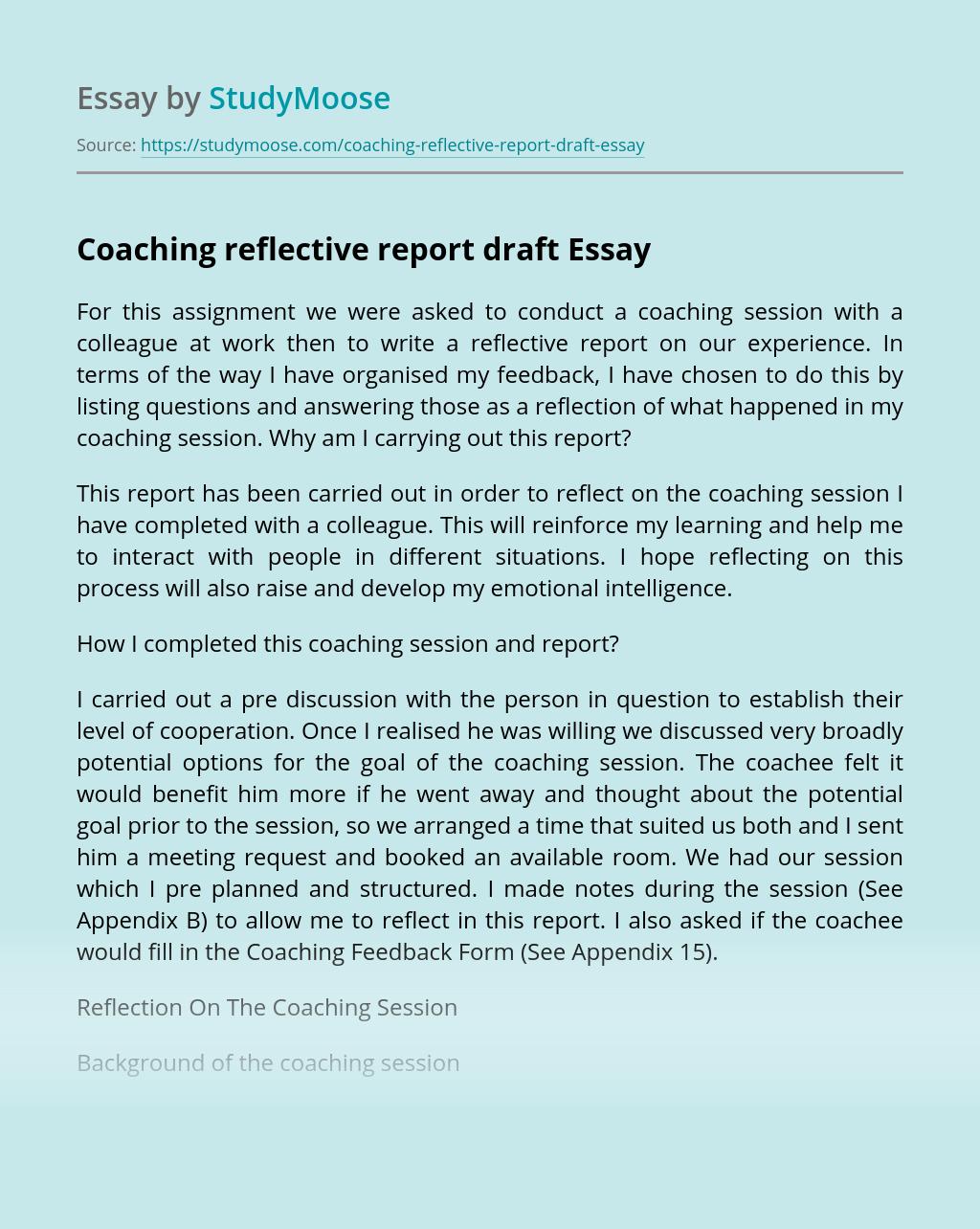 Coaching Reflective Report Draft
