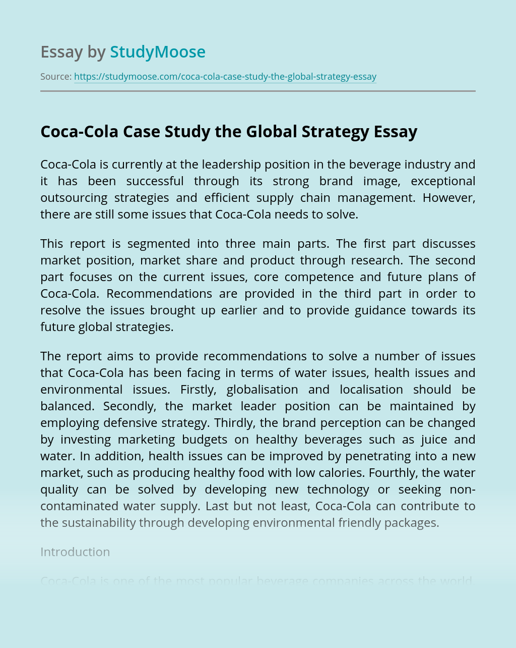 Coca-Cola Case Study the Global Strategy