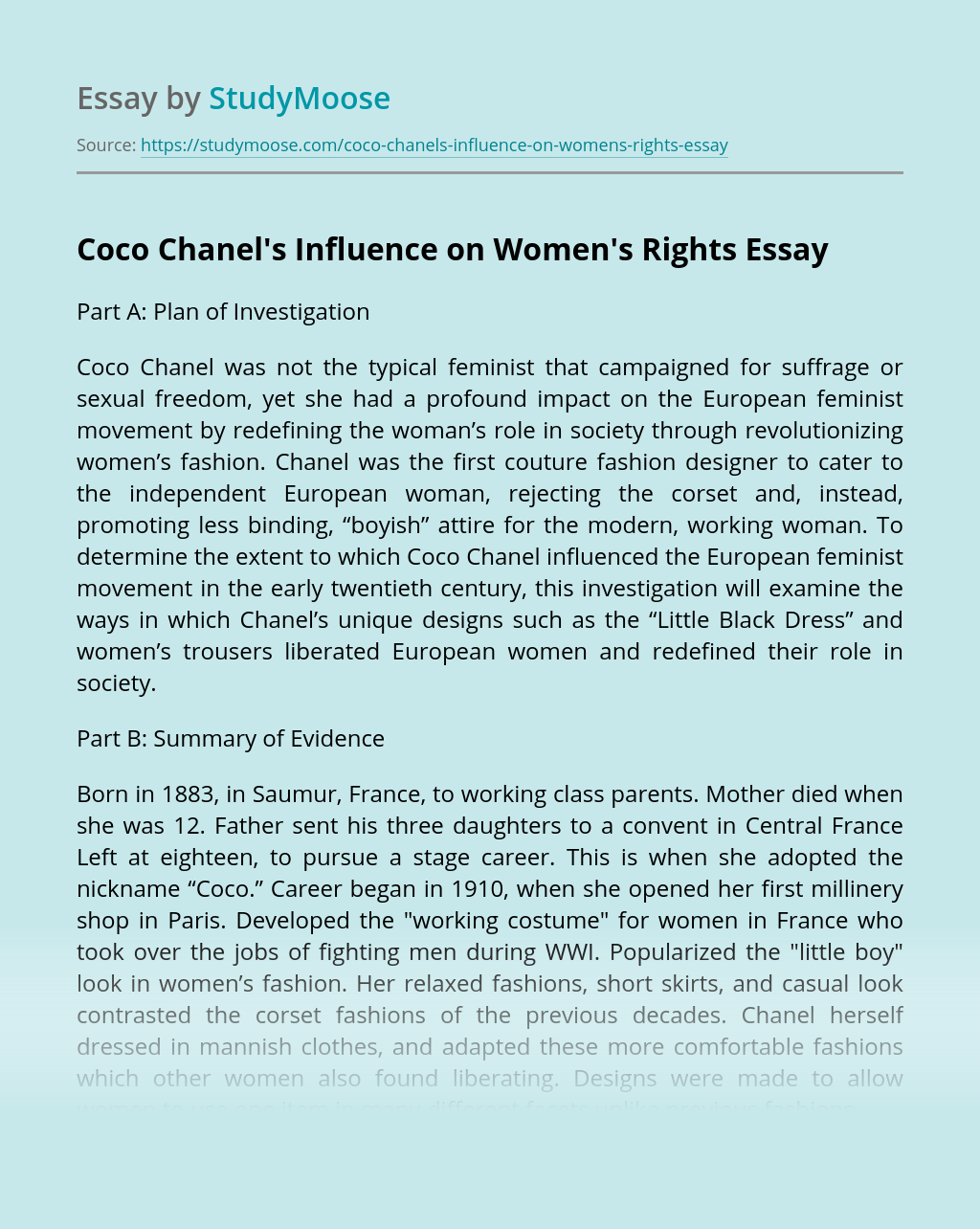 Coco Chanel's Influence on Women's Rights
