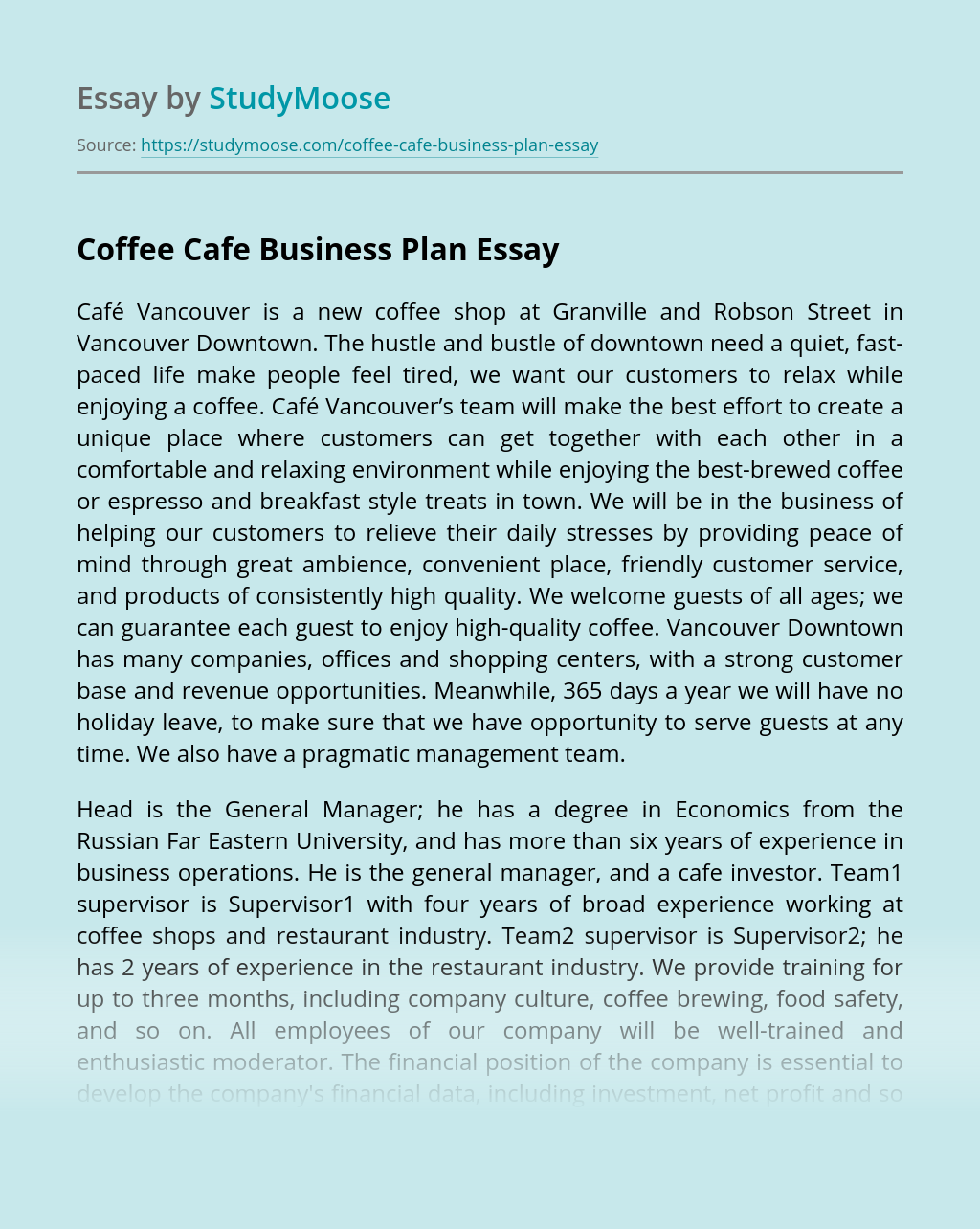 Coffee Cafe Business Plan