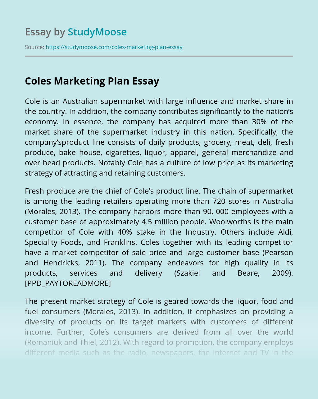 Coles Marketing Plan