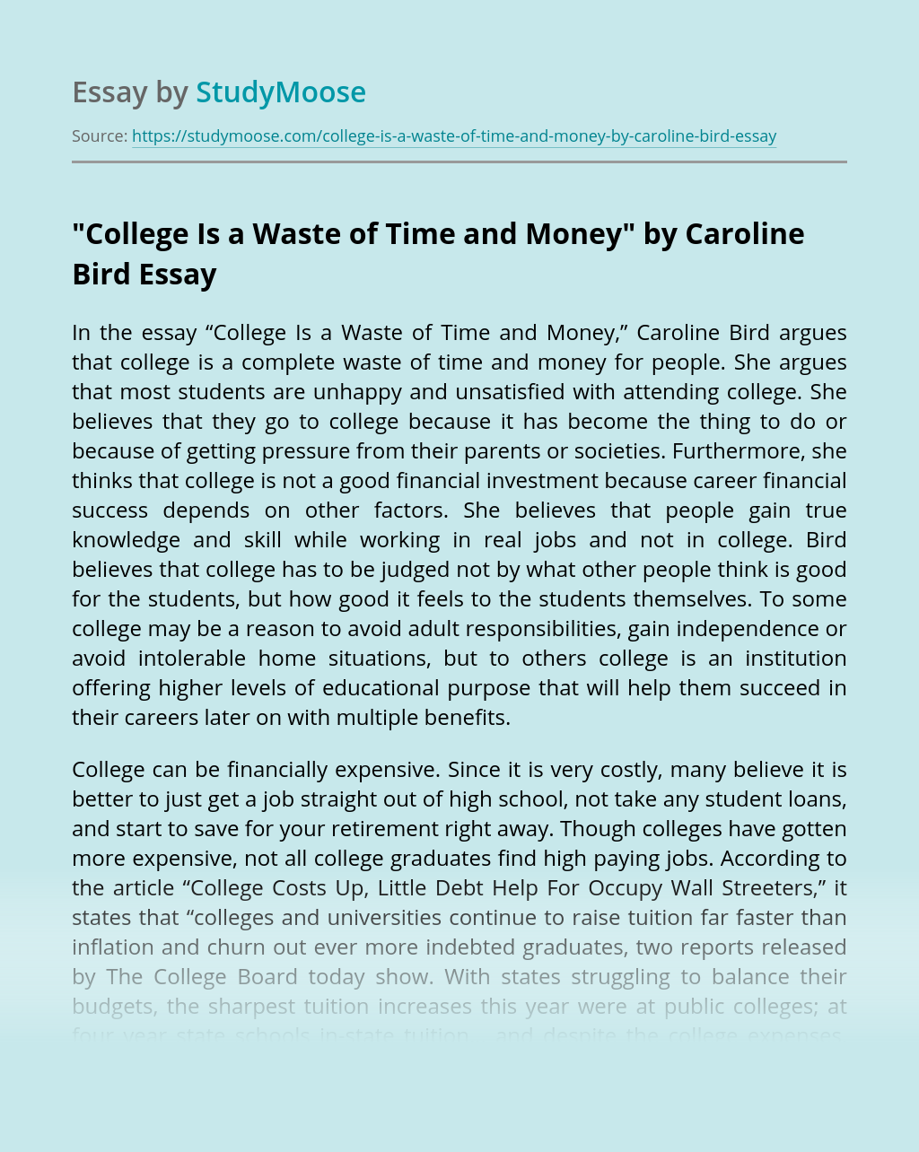 """College Is a Waste of Time and Money"" by Caroline Bird"