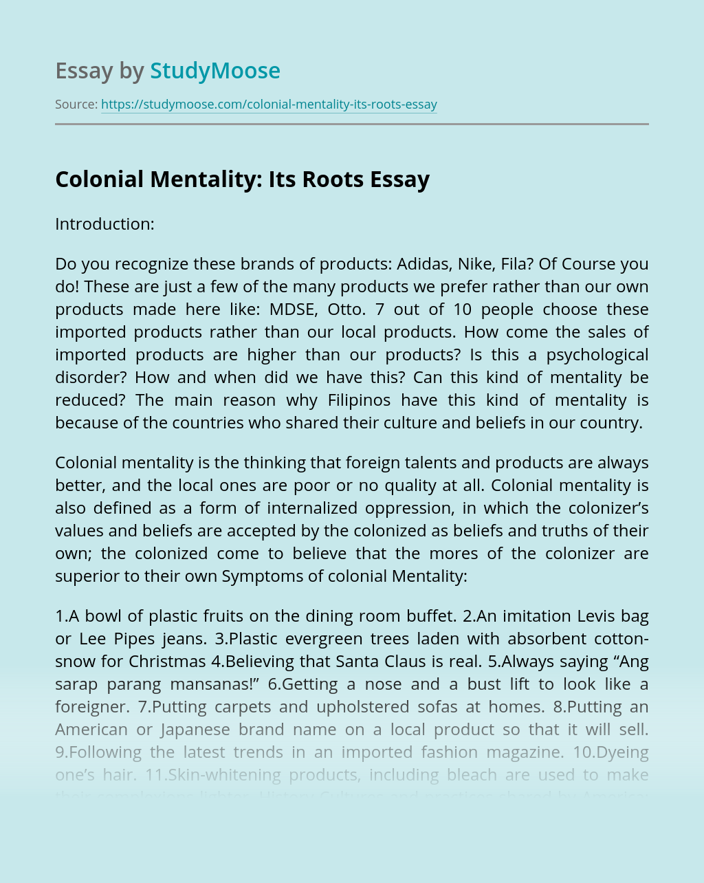 Colonial Mentality: Its Roots