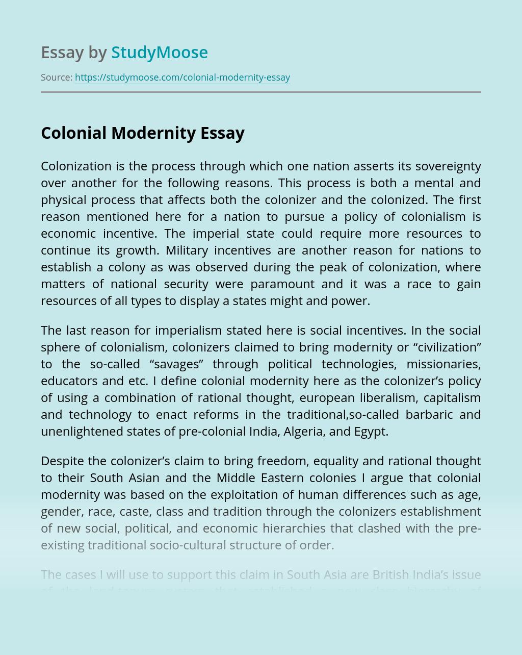 Colonial Modernity