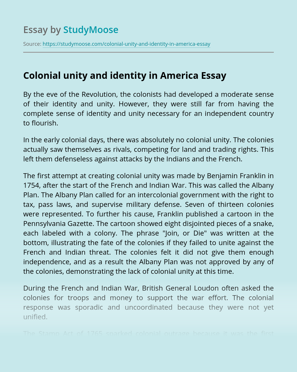 Colonial unity and identity in America
